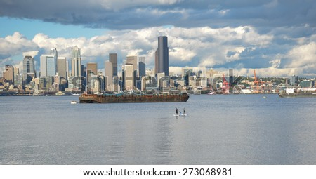 Seattle Skyline with boarders - stock photo