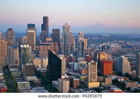 Seattle Skyline with Mount Rainier - stock photo