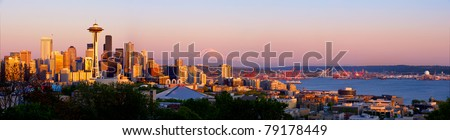 Seattle skyline with Space Needle and Mt. Rainier - stock photo