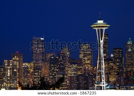 seattle skyline with space needle taken from kerry park