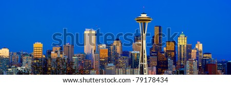 Seattle Skyline with Space Needle Tower - stock photo