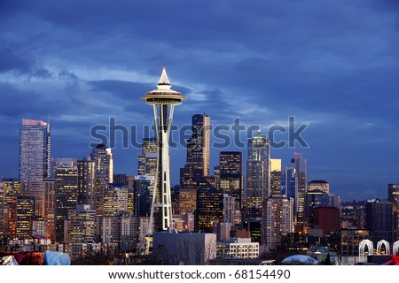 Seattle Skyline with Space Needle Tower at Dusk - stock photo