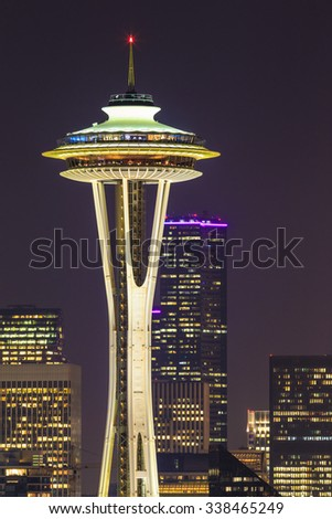 Seattle skylines at night, the view from Kerry Park in Queen Anne Hill, Seattle, Washington State, USA. - stock photo
