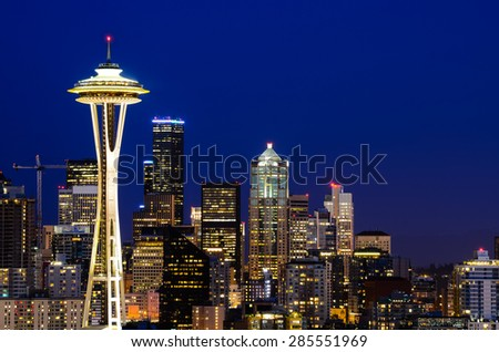Seattle skylines in blue hour, the view from Kerry Park in Queen Anne Hill, Seattle, Washington State, USA.