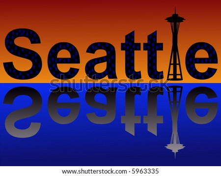 Seattle text with space needle at dusk reflected in water JPG - stock photo