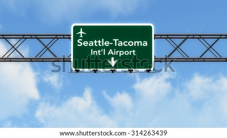 Seattle USA Airport Highway Sign 3D Illustration