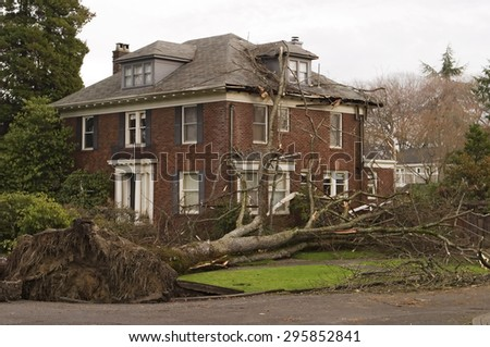 SEATTLE, USA - DEC 15, 2006: This Seattle house was damaged by a large 100 foot elm tree uprooted in the winds of the 2006 Hanukkah wind storm. The root ball tore up the sidewalk in the foreground. - stock photo