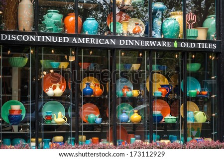 SEATTLE, USA - MAY 18, 2007: Discontinued American dinnerware and old tiles on display in shopping window on Pioneer Square in Seattle, WA. - stock photo