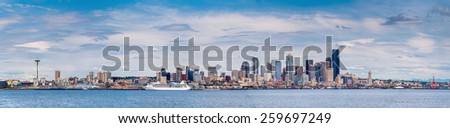 SEATTLE, USA - MAY 18, 2007: Panoramic view of the Seattle skyline from the boat in the Puget Sound's Elliot Bay - stock photo