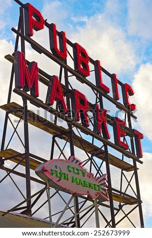 SEATTLE, USA - OCTOBER 26, 2014: Pike Place Market on October 26, 2014 in Seattle, USA. A sunset near the public market in Seattle downtown. - stock photo