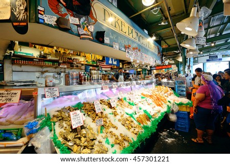 SEATTLE, WA - AUG 14: Farmer's Market interior on August 14, 2015 in Seattle. Seattle is the largest city in both the State of Washington and the Pacific Northwest region of North America - stock photo