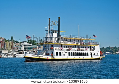 SEATTLE, WA -AUGUST 24:  Steam powered paddle boat named Queen of Seattle, offers tours of Lake Union while teaching history of this boat'??s role. Taken August 24, 2012 in Seattle, Wa. - stock photo