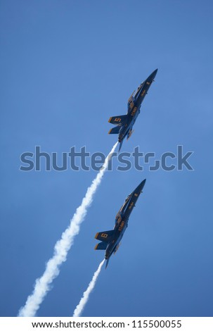 SEATTLE, WA - AUGUST 5: The Blue Angels squadron performs at the Seattle Seafair festival August 5, 2012 in  Seattle, WA. - stock photo