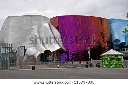 SEATTLE, WA - JULY 11: The Experience Music Project is a museum is not only for the history of music, but home to Science fiction museum and Hall of Fame. July 11, 2011 in Seattle, WA. - stock photo