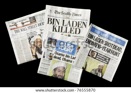 SEATTLE, WA - MAY 02: The Seattle Times and other U.S. newspapers report the death of Osama bin Laden on May 02, 2011. Bin Laden claimed responsibility for the September 11, 2001 attacks on the U.S. - stock photo