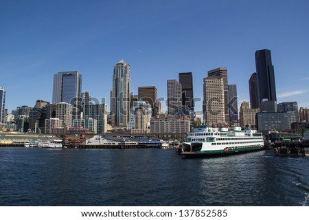 SEATTLE,WA,USA-APRIL 17: A Washington State Ferry sits docked at the Seattle Waterfront on April 17,2013. Washington State Ferries is the largest automobile and passenger ferry system in the USA. - stock photo