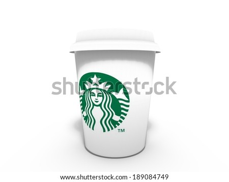 SEATTLE, WA, USA, CIRCA APRIL 2014 - Cup of coffee with Starbucks logo. The company reported a worldwide grow of visitors and a 6% growth in sales volume. - stock photo