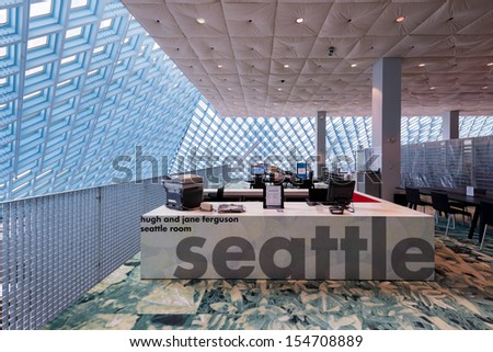 SEATTLE, WASHINGTON - AUGUST 3: The Seattle Room on the top floor of the Seattle Central Library building on August 3, 2013 in Seattle, Washington - stock photo