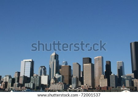 Seattle Washington city Skyline on a clear bright beautiful day