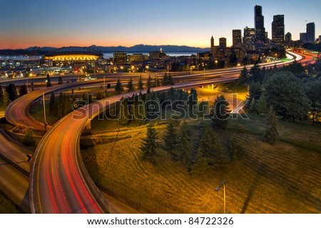 Seattle Washington Downtown City Highway Light Trails at Sunset - stock photo
