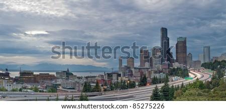 Seattle Washington Downtown Skyline and Freeway Panorama - stock photo