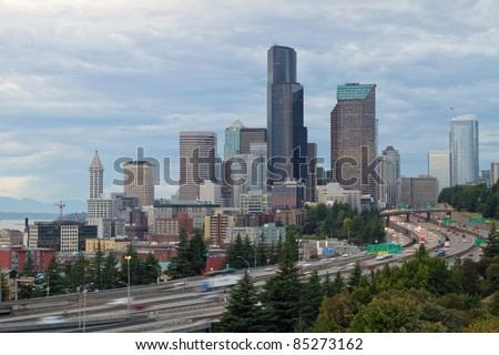 Seattle Washington Downtown Skyline on a Cloudy Day