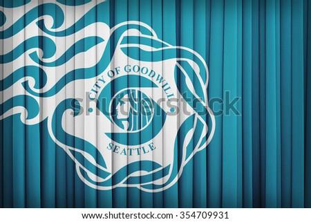 Seattle, Washington flag pattern on the fabric curtain,vintage style - stock photo