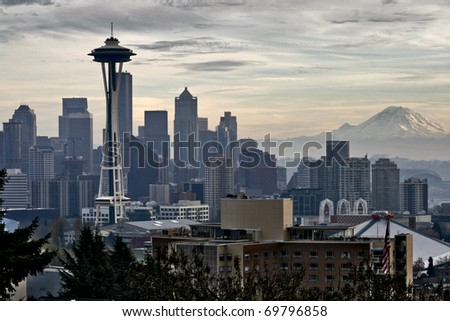 Seattle, Washington from Kerry Park. - stock photo