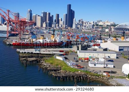 SEATTLE, WASHINGTON - JUN 27:  US Coast Guard ship docks on Seattle waterfront June 27, 2008 in Puget Sound, Pacific Northwest, Seattle. - stock photo
