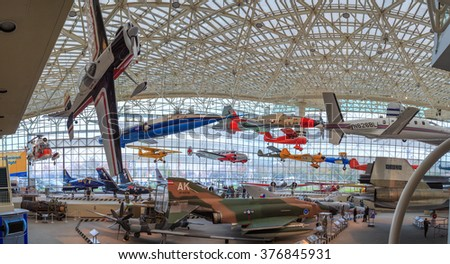 SEATTLE, WASHINGTON STATE, USA - OCTOBER 28, 2015: The Museum of flight is the largest private air and space museum in the world. - stock photo