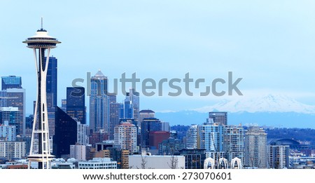 Seattle, Washington, USA - March 2, 2015_Space Needle, Seattle Skyline and Mount Rainier, view from Kerry Park. - stock photo