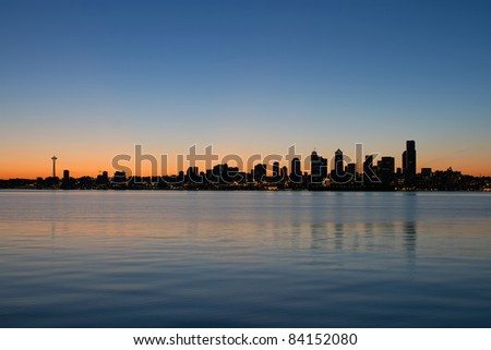 Seattle Washington Waterfront Skyline along Puget Sound at Sunrise Panorama