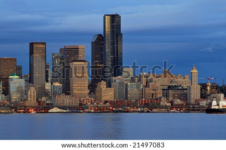 Seattle waterfront at dusk - stock photo