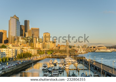 Seattle Waterfront at Sunset - stock photo