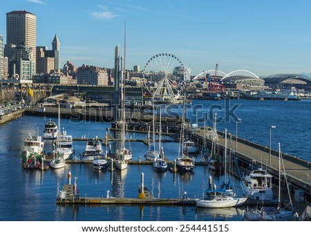 Seattle Waterfront. Seattle, WA USA - February, 17 2015. Waterfront park is the most popular tourism attraction in Seattle. - stock photo