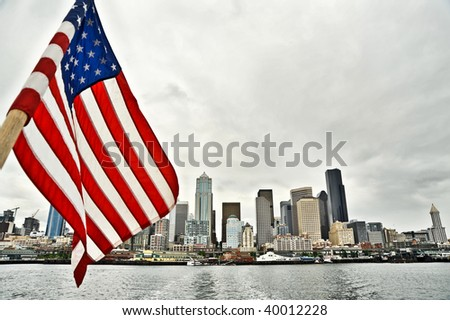 Seattle waterfront skyline viewed from a ferry - stock photo