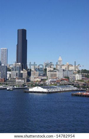 Seattle waterfront skyline,with ferry,		Puget Sound, 	Pacific Northwest
