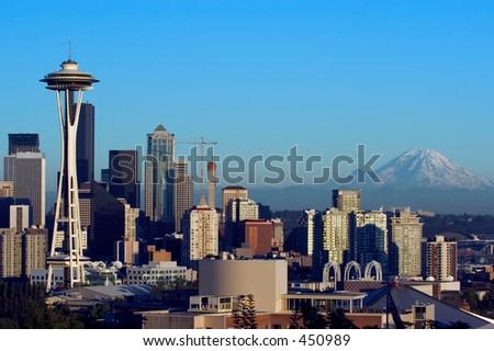 Seattle with Rainier mountain - stock photo