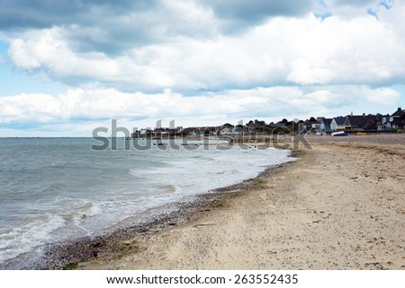 Seaview beach north east Isle of Wight overlooking the Solent near to Ryde  - stock photo