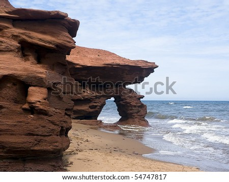 Seaview Cliffs, PEI, Canada on the Gulf of St. Lawrence - stock photo