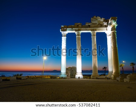 Seaview sunset Golden hour Ancient Apollon Temple Located in Side Antalya Turkey
