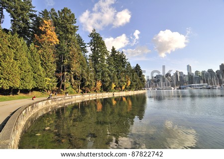 seawall in the autumn - stock photo
