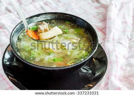 Seaweed soup with egg tofu and Meatballs, Thai food