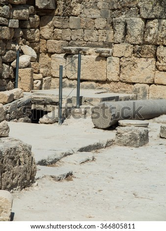 Sebastian, ancient Israel, ruins and excavations in the Palestinian territories. Smaria. Entrance to the first tomb of St. John - stock photo