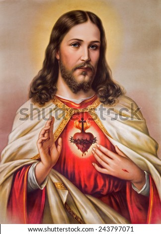 SEBECHLEBY, SLOVAKIA - JANUARY 6, 2015: Typical catholic image of heart of Jesus Christ from Slovakia (in my own home)  printed in Germany from the begin of 20. cent. originally by unknown artist. - stock photo