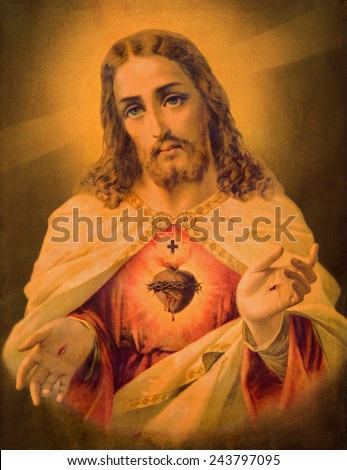 SEBECHLEBY, SLOVAKIA - JANUARY 2, 2015: Typical catholic image of heart of Jesus Christ from Slovakia (in my own home) printed in Germany from the end of 19. cent. originally by unknown artist. - stock photo