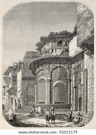 Seby-el-Bedawieh fountain old view, Cairo. Created by Marilhat and Brugnot, published on Magasin Pittoresque, Paris, 1845 - stock photo