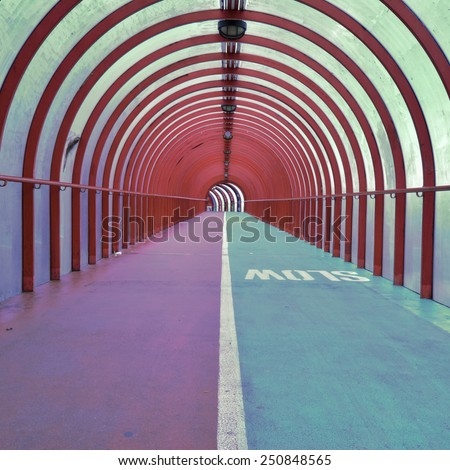 SECC pedestrian walkway and cycle lane connecting the Scottish Exhibition and Conference Centre and railway station - Glasgow, Scotland, UK - stock photo