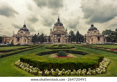 Secheni's swimming baths in Budapest, Hungary in cloudy weather, toning - stock photo