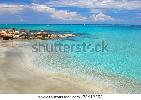 Secluded beach with turquoise water on Cyprus island near Protaras - stock photo